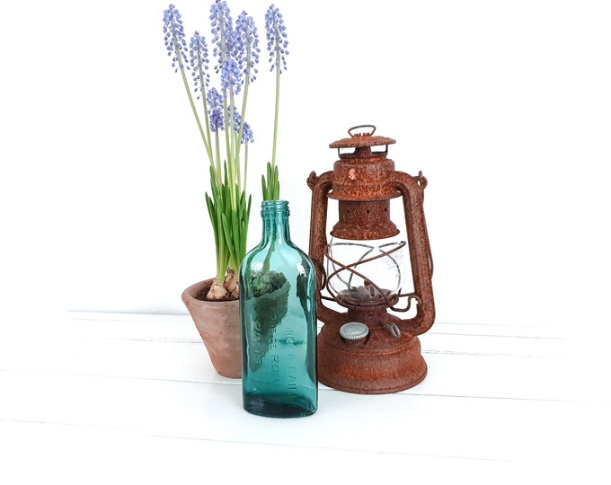 Vintage bluish green apothecary bottle A. Bailly Rue de Rome 15 Paris • turquoise pharmacist bottle • French decorative bottle