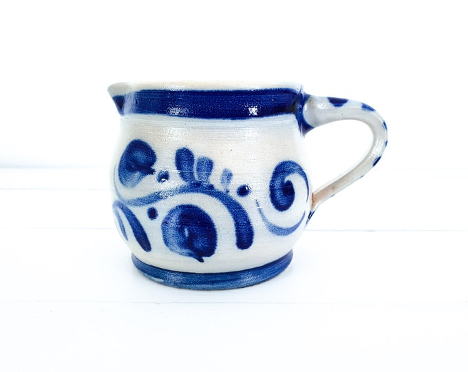 Antique pottery jug Cologne Germany • pottery vase blue pattern • country farmhouse kitchen decor