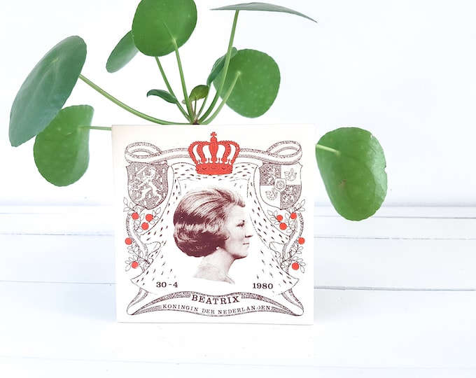 Old remembrance tile coronation Beatrix Queen of the Netherlands • Royalty memorabilia • Dutch Royal family • Royal house Netherlands