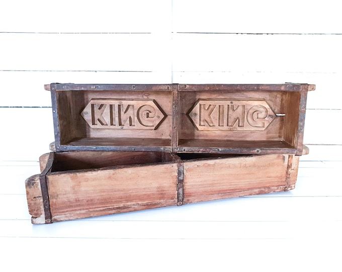 Vintage wooden double brick mould King • rustic wood stone mould • storage box case • wood centerpiece • cottage farmhouse decor