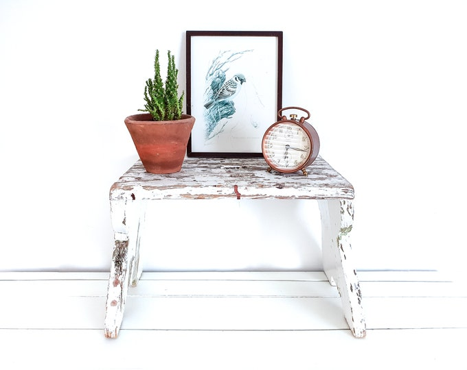 Vintage French white stool chippy paint • small vintage furniture • farmhouse wooden bench • step stool • white vintage small furniture