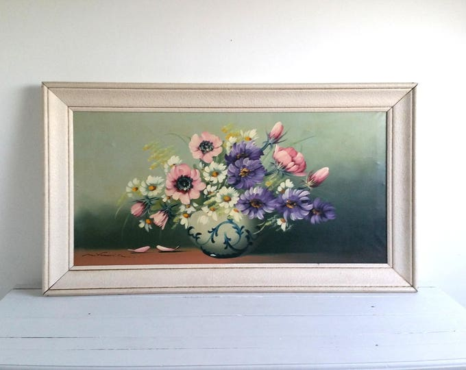 French vintage wood framed oil painting 'flowers' * wall decoration * vintage oil painting * home decoration