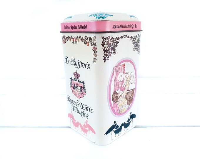 Old tin can de Ruijters Pink and White anise mice • vintage Dutch traditional tin • vintage tins • baby shower gift • birth girl