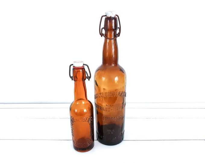 Vintage French Brasserie bottles with clip closure • antique brown bottles with porcelain cap • French farmhouse decor • old glass bottles