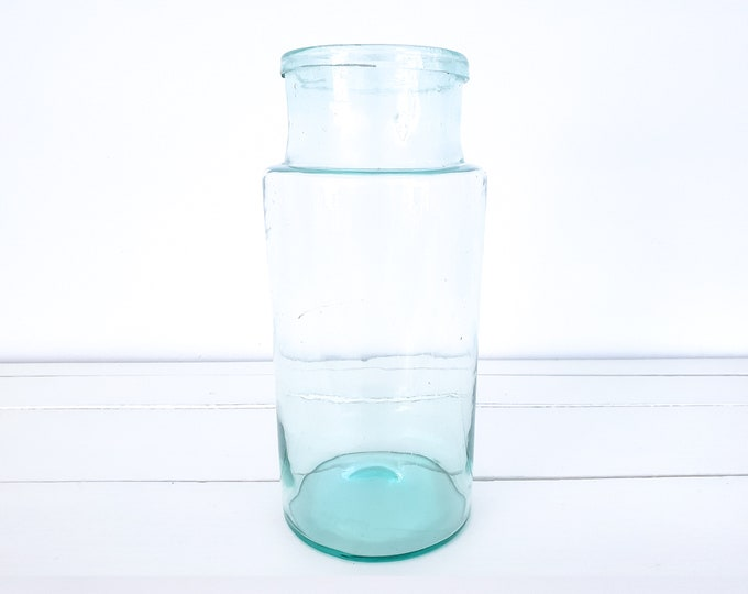 Antique French glass jar • French farmhouse style • bluish green glass vase • vintage green glassware • fixer upper style • hand-blown vase
