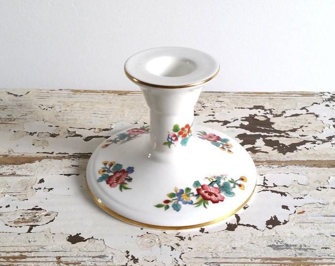 Sweet vintage porcelain candlestick / candleholder 'Ming Rose'