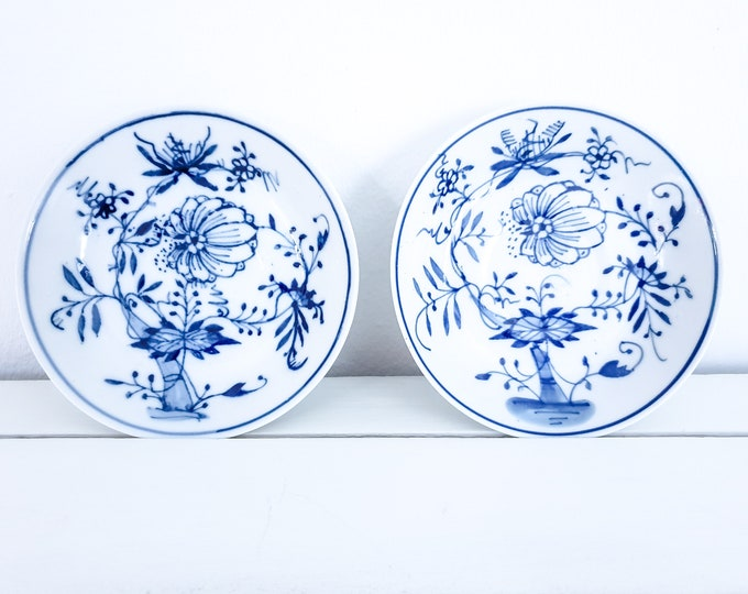 Antique ceramic bowls with blue flower pattern handpainted (set of 2) • antique tableware • indian blue bowl • country farmhouse kitchen