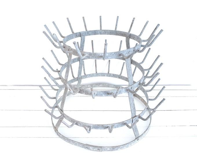 Vintage French metal bottle drying rack • decorating rack • French farmhouse decor • mug tree • shop display