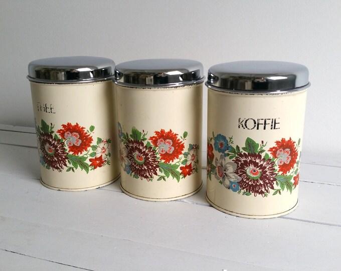 Vintage Dutch set kitchen storage tins 'flower'