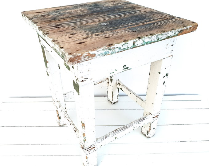 Vintage French white side table chippy paint • small vintage furniture • handmade end table • white aged small side table • night stand