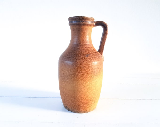 Vintage ceramic vase W.Germany ocher yellow • ceramic vase • bohemian style • country rustic style • 1970