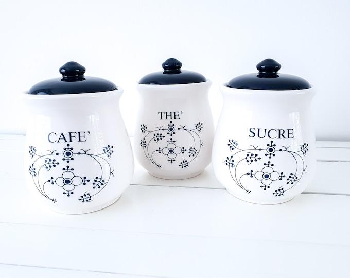 Vintage indigo set of ceramic storage jars Blau Saks (set of 3) • coffee tea sugar set • farmhouse kitchen cannisters • food storage