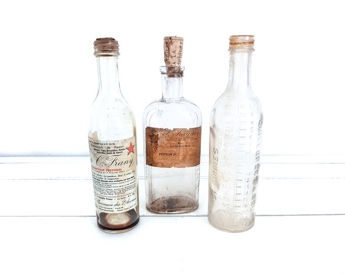 Vintage French pharmacist bottles (set of 3) • old bottles with original label • antique French decoration • vintage glass bottles