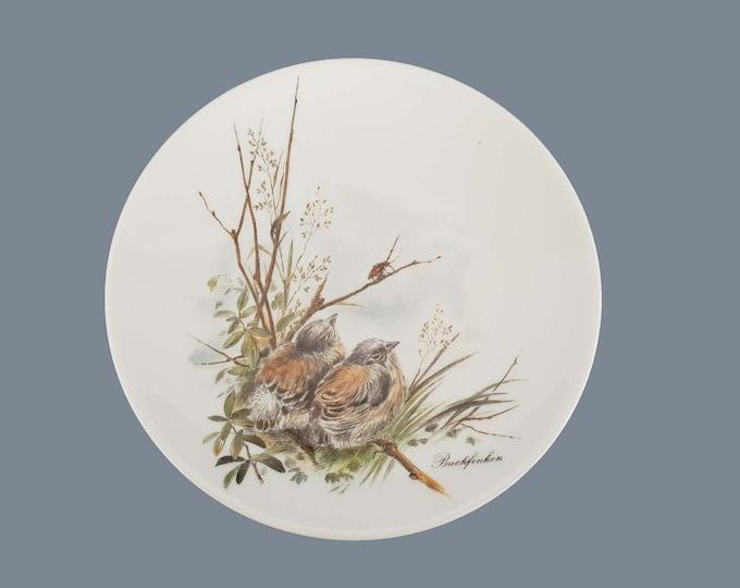Vintage decorative wall plate birds • AK Kaiser chaffinch • botanical wall decoration • wall hanging plate • small birds decoration plate