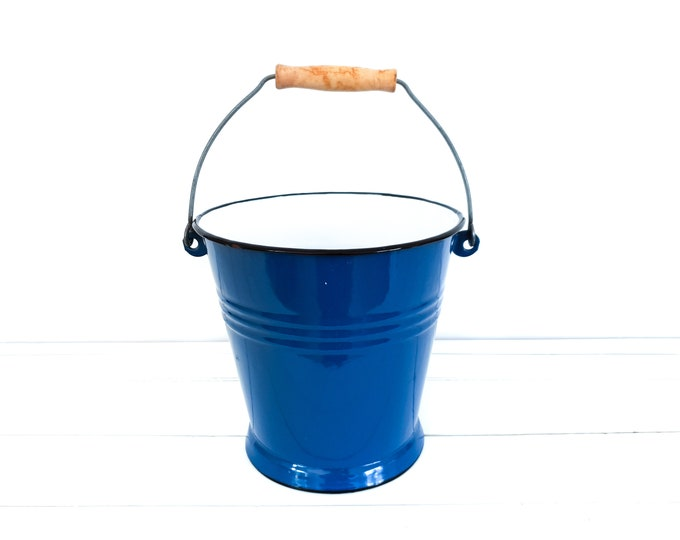 Old enamel bucket blue with wooden handle • vintage blue enamelware • farm garden decoration • cobalt blue enamel pail • planter pots