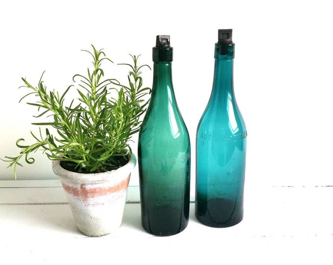 Vintage glass bottle with bakelite screw cap blue green • old glass bottles • farmhouse home decoration • fixer upper style • glass decor