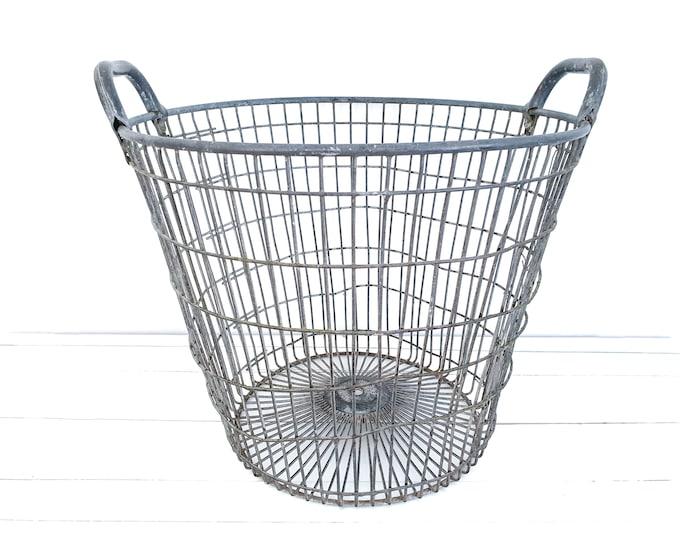 Old metal potato basket • large metal storage basket • wood basket • country farmhouse decor • vintage metal wired basket (#4)