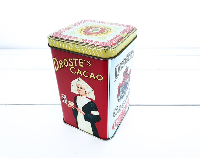Old tin can Droste Cocoa • vintage canister nurse • storage tin • Dutch vintage • collectable tins