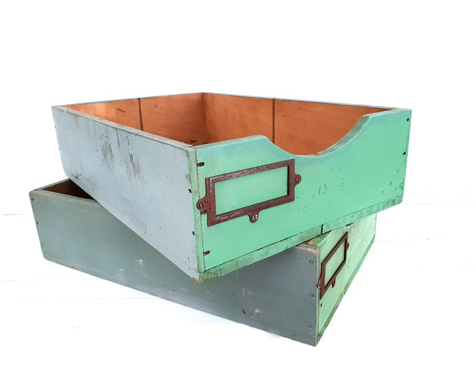 Vintage French wooden drawers • old wooden crates • storage box • wooden tray • farm home decoration accents • industrial decor • old paint