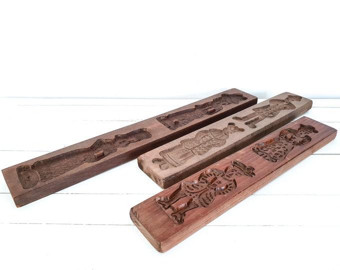 Antique Dutch wooden Speculaas mold • old gingerbread baking mold • rustic farmhouse kitchen decoration • wood wall decoration