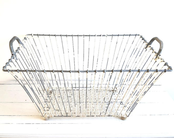 Vintage farmhouse large metal wire basket
