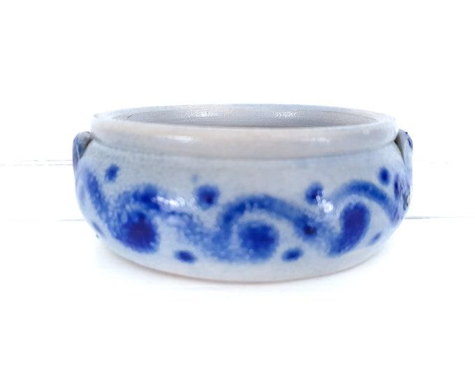 Vintage Westerwald saltpot cobalt blue • handmade saltglazed pottery • vintage planter • decorative ceramic west Germany