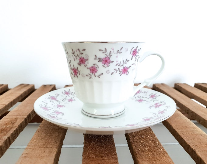 Vintage teacup pink flowers • flower porcelain teacup • antique tableware • tea cup with flowers • wedding tableware