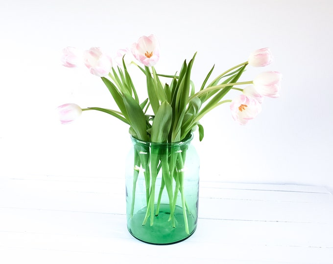 Antique French pharmacy jar • French country farmhouse • glass vase • vintage green glassware • fixer upper style • hand-blown vase