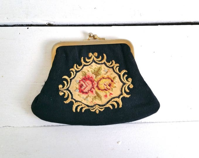 Vintage little embroidered black pouch * vintage embroidered wallet * embroidered accessory * small women wallet * little black pouch