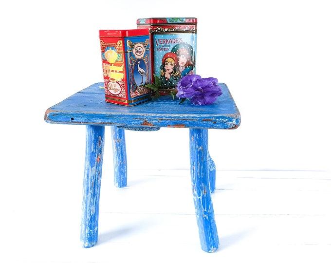 Vintage French stool blue • small vintage furniture • boho wooden bench • step stool • vintage small furniture • milk stool blue