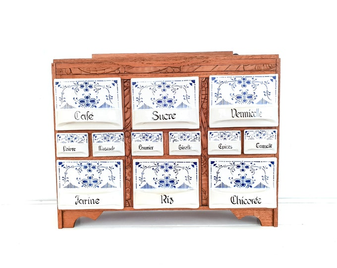Antique wood hanging spice cabinet with Saks Blau porcelain containers • spice storage rack • kitchen spice cabinet • spice shelf