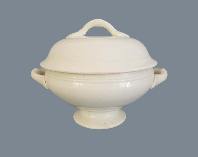 Antique French white ceramic tureen Faiencerie des Castres • serving dish • white bowl • shabby chic tableware • farmhouse decoration # 4