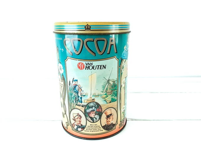 Old round tin Van Houten Cocoa • Jugendstil style  • cacao storage tin box • vintage cocoa tins • old collectible tins • kitchen accents