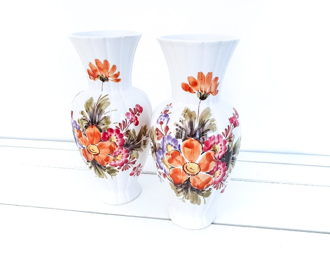 Vintage vase hand painted Bassano Italy • vintage decorative flower vase • ceramic vase • decorative vase • colorful flowers