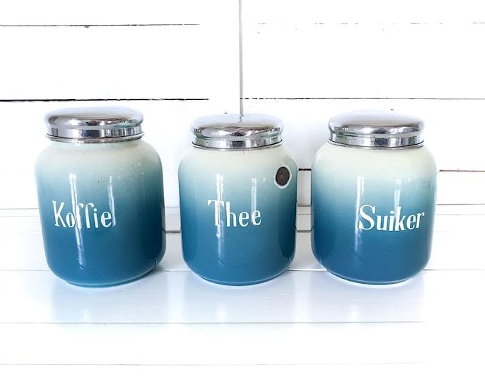 Unique vintage white & blue enamel canisters with lid coffee tea sugar (set of 3) • enamel storage cans • enamel jars • kitchen storage