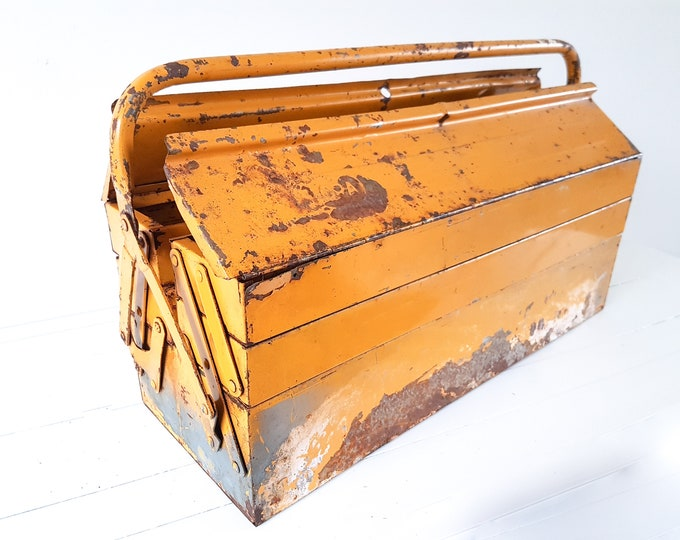 Old metal toolbox Ocher yellow • vintage toolbox metal • industrial home decoration • metal storage box