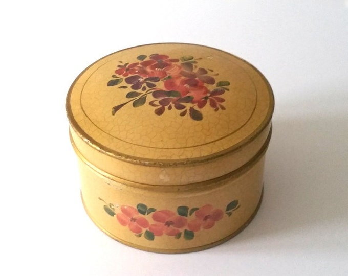 Old handpainted storage tin 'flowers'