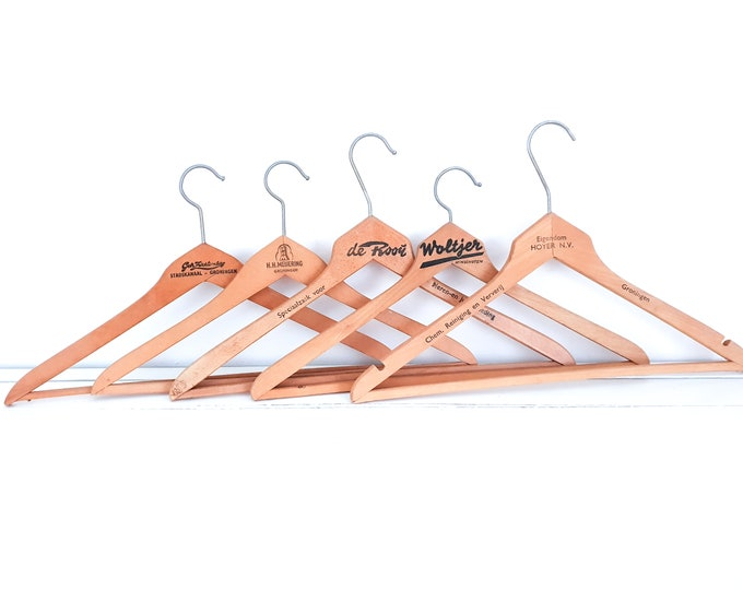 Vintage wooden clothes hangers with slogan • old wooden coat hangers • wooden dry cleaning hangers • antique hanger