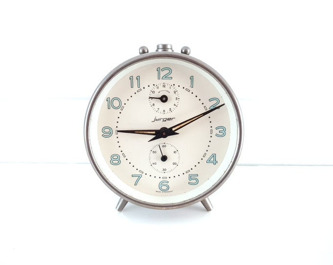 Vintage alarm clock Jerger chroom • old alarm clocks • German clocks • antique alarm clock • mechanical alarm clock • decorative clock