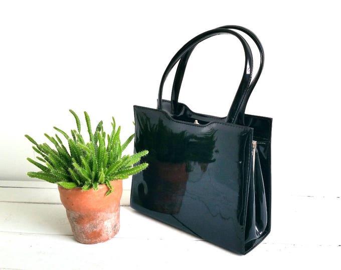 Vintage classic black leatherette bag * vintage fashion bag * classic bag * vintage accessoiries