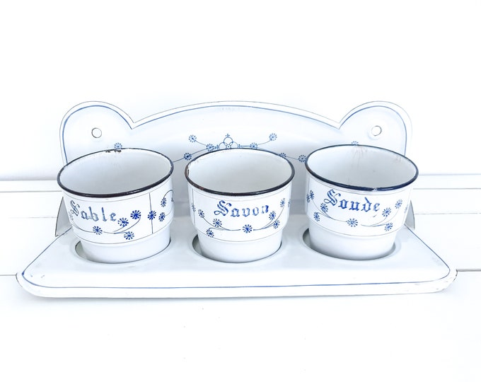Saks Blau enamel sand soap soda rack • Saxon Blue enamel • white enamel container set • vintage kitchen enamelware • kitchen rack