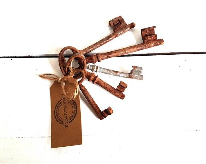 Vintage French rustic set of old keys