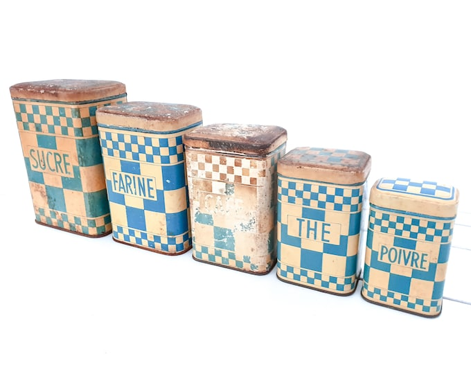 French vintage set of blue checkered storage tins with lid • old French storage cans • old kitchenware • kitchen storage