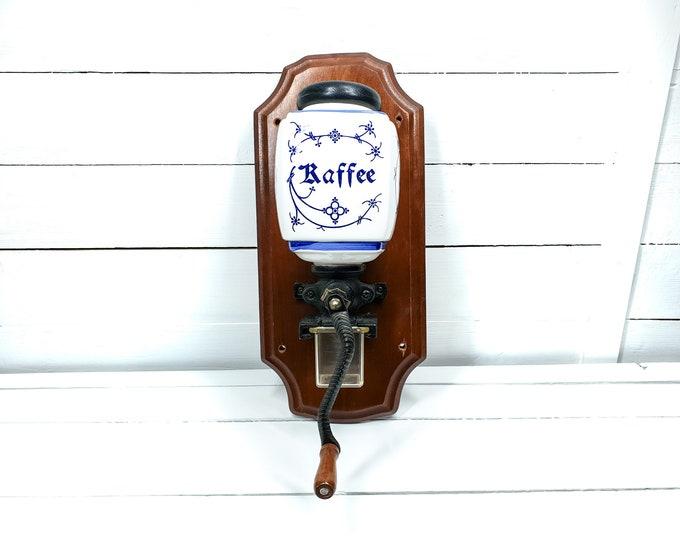 Antique wall mounted coffee grinder Saks Blau • Saxon Blue coffee grinder • vintage manual grinder • coffee bean grinder