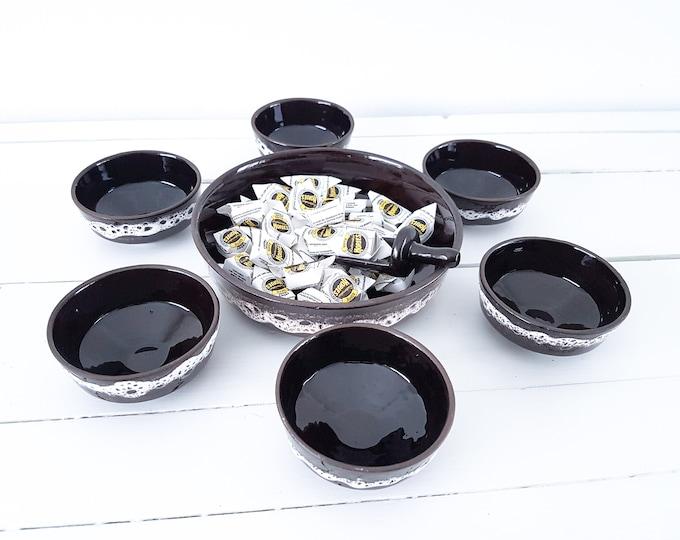 Vintage Fat Lava peanut snack set • ceramic serving bowl set • retro ceramic snack dish • ceramic tableware • 1970