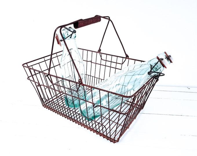 Unique vintage French shopping basket Brevete • metal storage basket • rusted basket • industrial decor • vintage metal wire basket