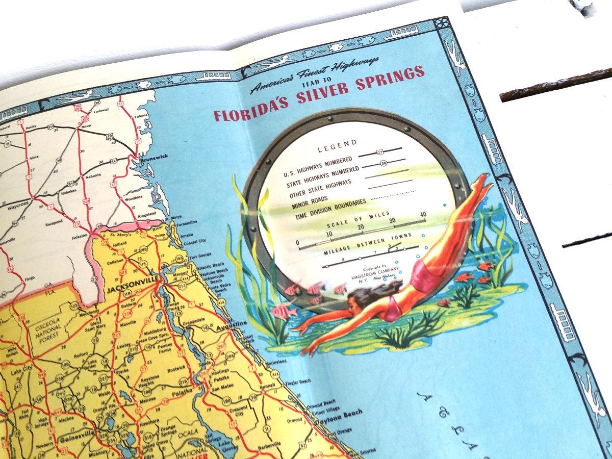 Vintage road map Florida 'Silver Springs' * vintage folding ... on old st. augustine florida map, orlando florida map, florida map with exit numbers, central fl road map, daytona beach florida map, i 95 sc map, florida expressway map, florida schools map, south florida map, florida local map, florida empire map, florida map i-95, i 75 fl map, florida turnpike map, jacksonville florida map, florida route map, florida general map, florida map mileage, florida map location of dunes, florida oregon map,