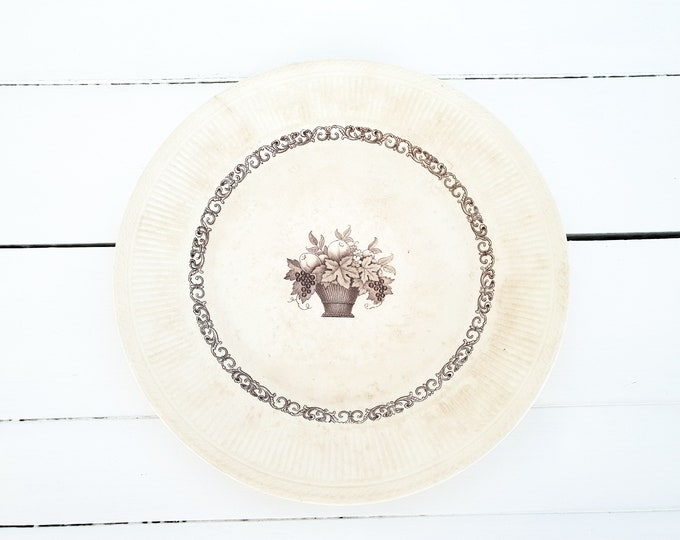 Antique Rörstrand Diana Dinnerware Brown Fruit Basket • antique porcelain tableware • Rorstrand Sweden • Scandinavian