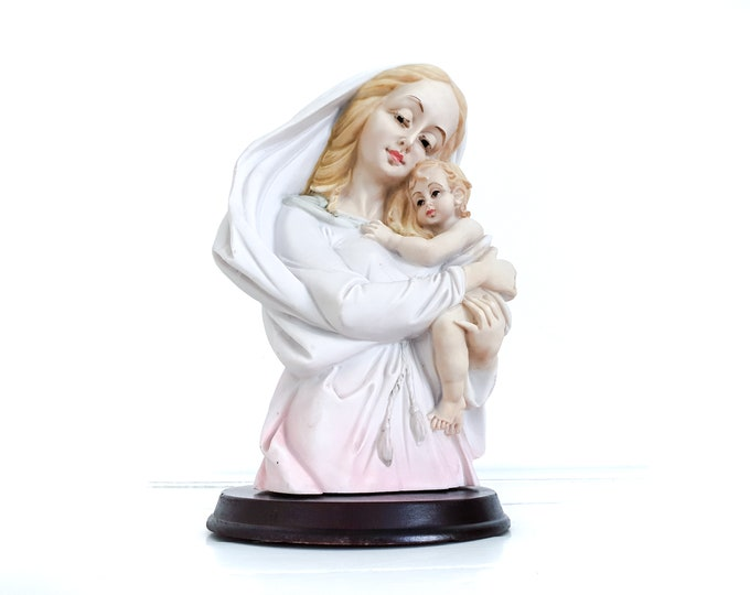 Vintage stone figurine Mary with baby Jesus • religious mary statues • serene home decoration • religious gifts • vintage mantel decor