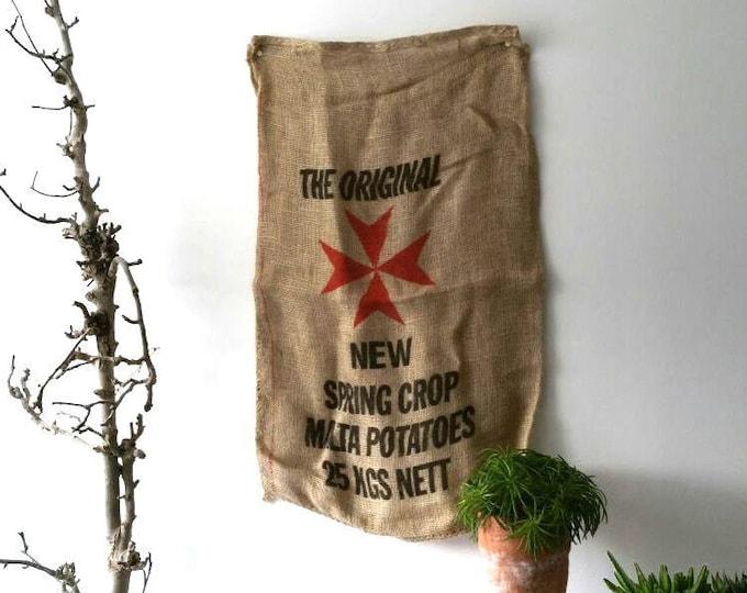 Vintage rustic burlap old potato bag * vintage burlap sack * farmhouse house decoration * printed jute bag